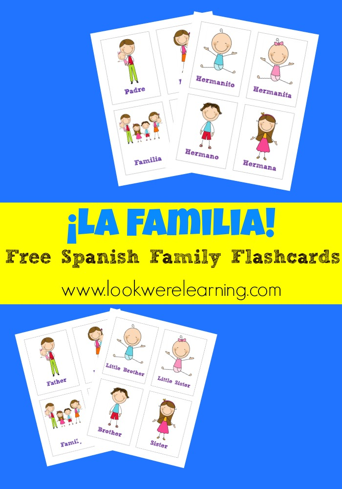 We've been enjoying our Spanish lessons, so here is a set of free Spanish family flashcards - perfect for learning the members of the family!