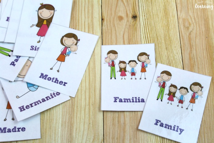 Printable Spanish Family Word Flashcards for Kids