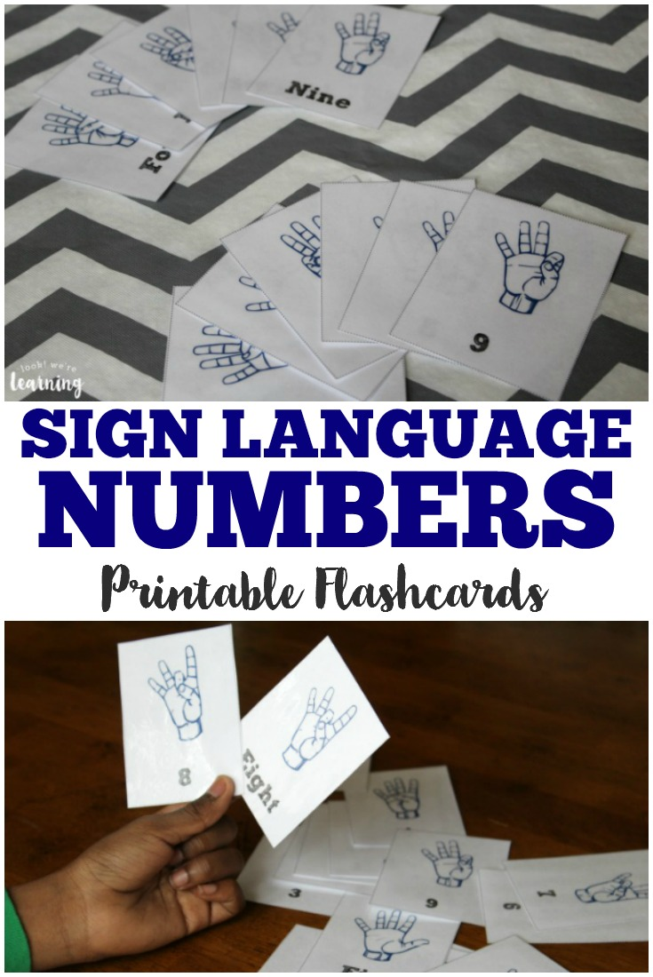 Teach your kids to sign numbers 0-9 with these printable sign language number flashcards!
