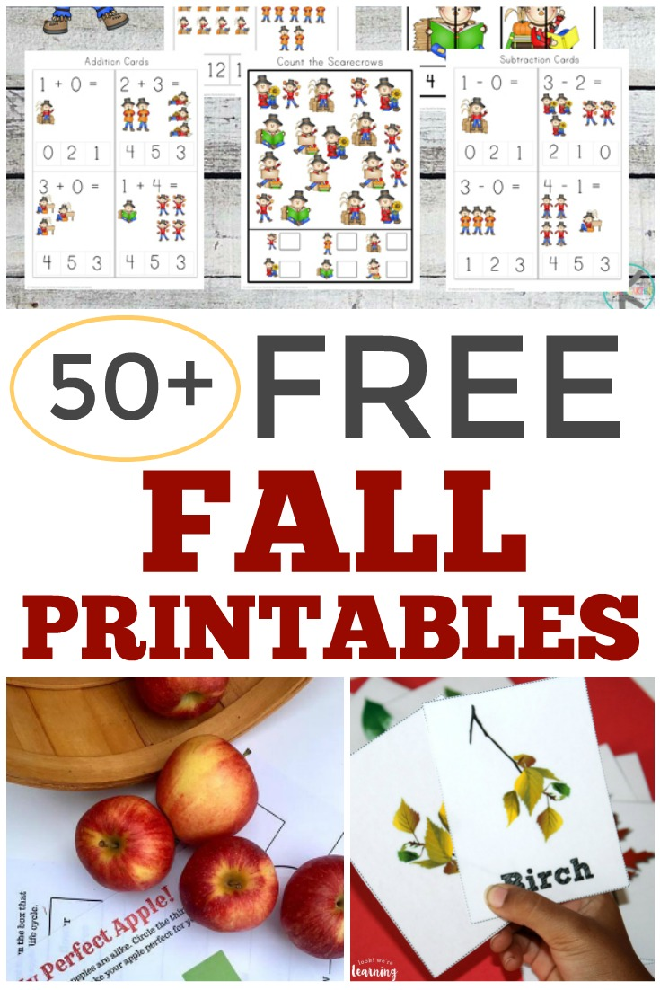 This list of over 50 free fall printables for kids is perfect for educational fall fun!