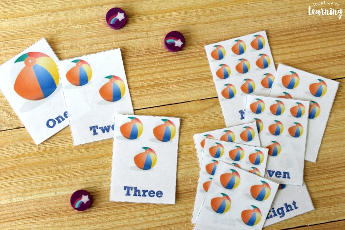 Beach Ball Printable Counting Flashcards
