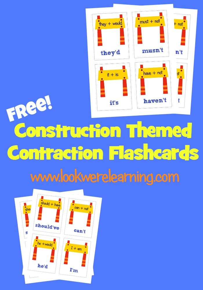 Free Contraction Flashcards - Look! We're Learning!