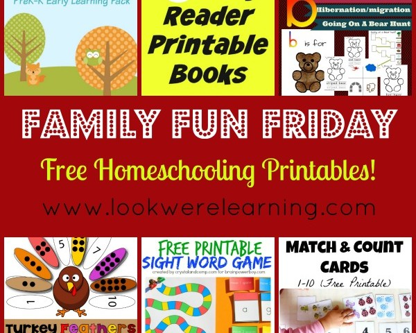 Free Homeschooling Printables with Family Fun Friday!