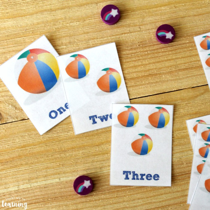 Free Printable Beach Ball Counting Flashcards for Kids