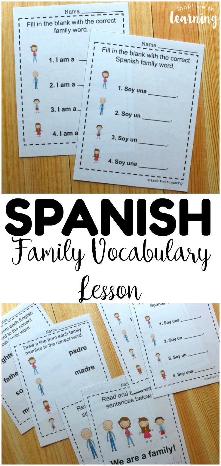 Learn how to talk about family members in Spanish with these printable Spanish family members worksheets! These are wonderful for beginning Spanish learners!