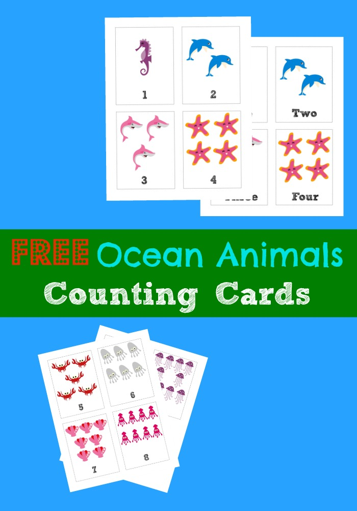 Free Printable Flashcards: Counting Ocean Animals - Look! We're Learning!