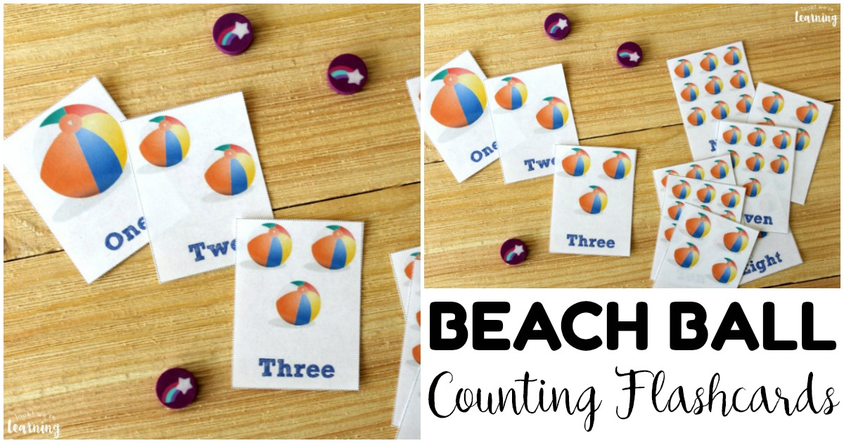 Printable Beach Ball Counting Flashcards for Kids