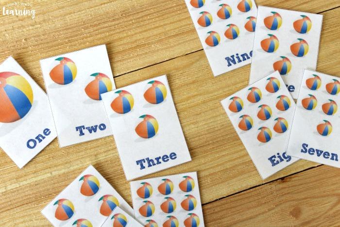 Printable Beach Ball Counting Flashcards