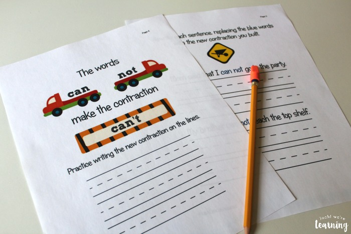 Printable Construction Themed Language Arts Lesson