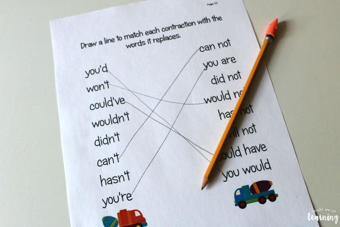 Printable English Language Arts Contractions Lesson