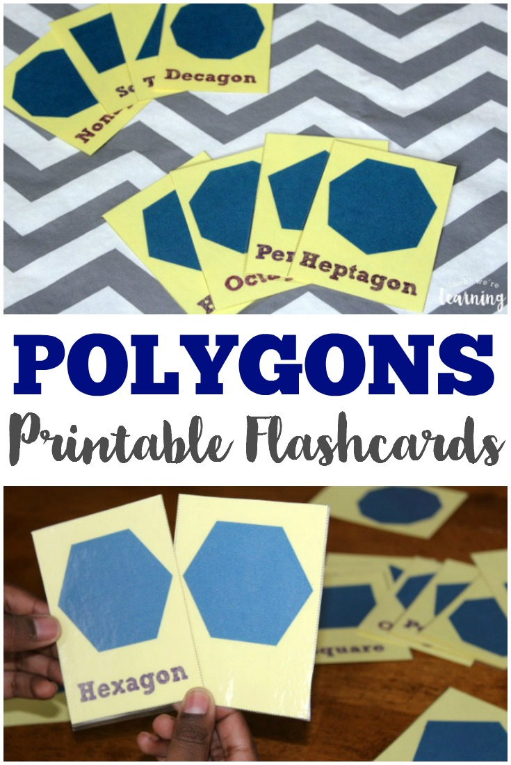 Review basic geometric shapes with these printable polygon flashcards!