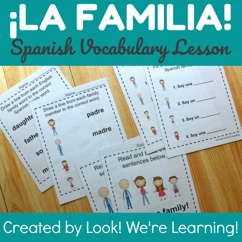 Spanish Family Words Worksheets - Look! We're Learning!