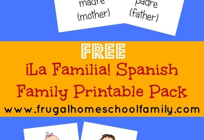 Free Spanish Family Words Worksheet Pack