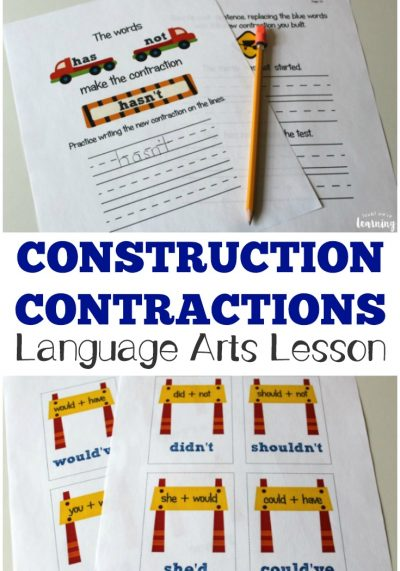 Teach kids how to form English contractions with this printable construction themed language arts lesson!