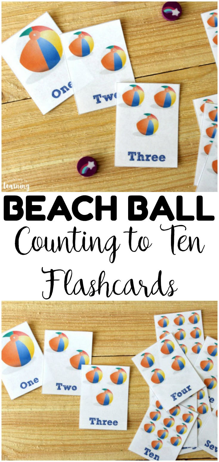 These free printable counting flashcards feature a fun beach ball theme for some summer math fun!