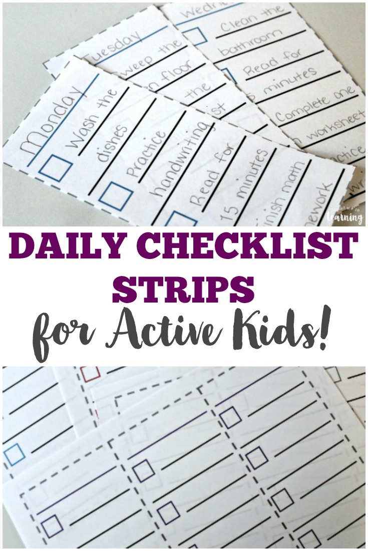 These printable daily checklist strips are an awesome tool for helping active kids focus on their tasks for the day!