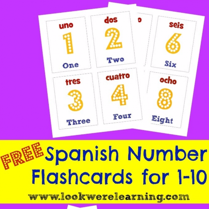 image relating to Printable Numbers 1 10 Flashcards referred to as Printable Spanish Flashcards: Spanish Range 1-10 Flashcards
