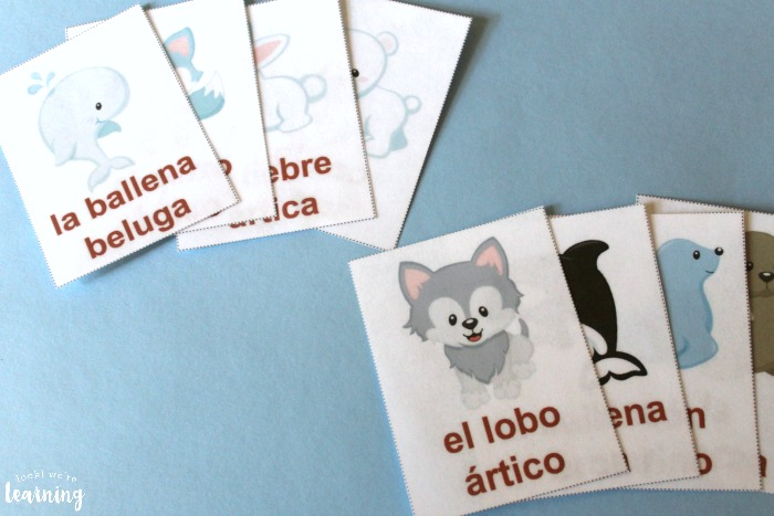 Arctic Animal Spanish Printable Flashcards for Kids