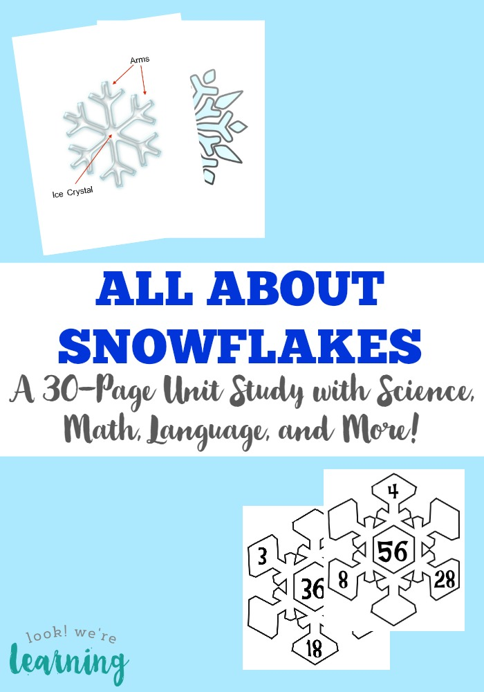 Build a winter unit with this printable snowflake unit study featuring math, science, language, and more for kids!