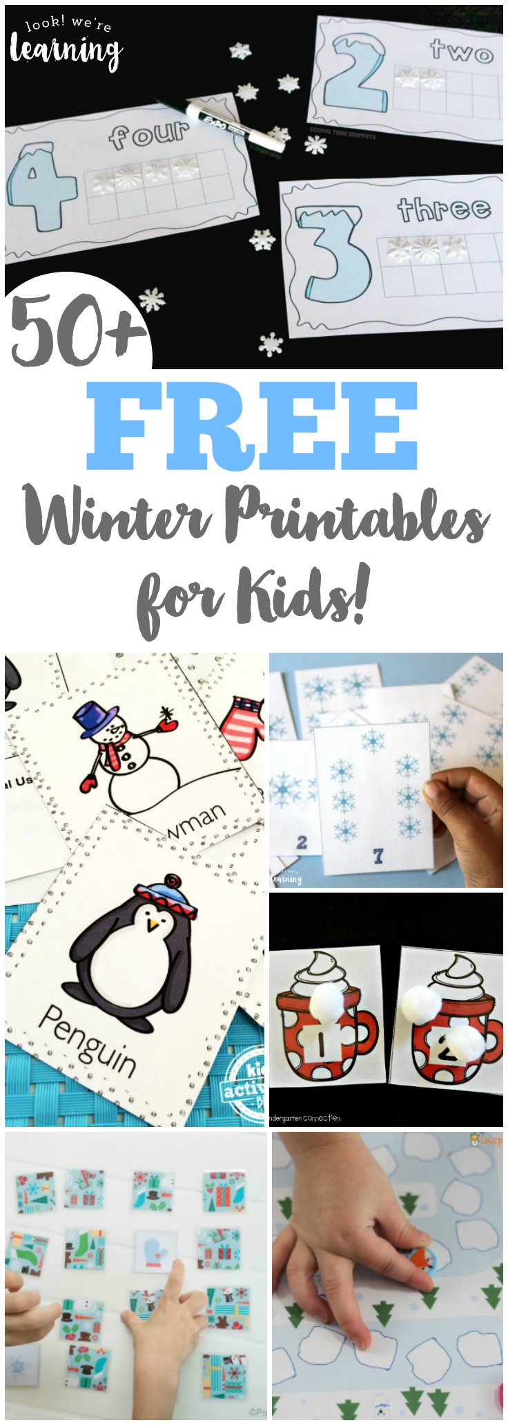 Keep learning all winter long with these fun and free winter printables for kids!