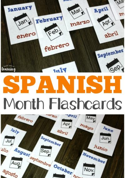 Pick up these Spanish months of the year flashcards to practice reading and saying months in both English and Spanish!