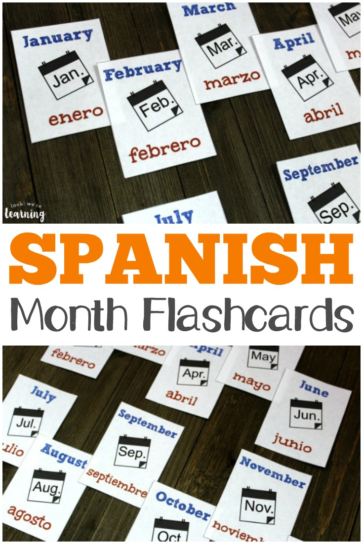 Pick up these Spanish months of the year flashcards to practice reading and saying months in both English and Spanish! Use these free Spanish months of the year flashcards to say and spell each month in español!