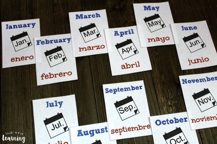 Spanish Months of the Year Flashcards for Kids