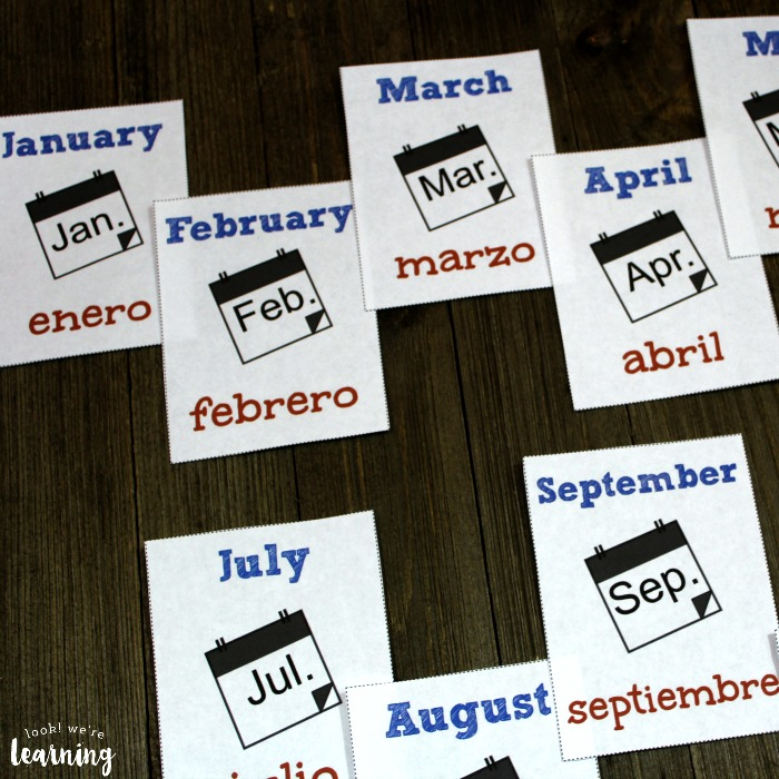 Spanish Months of the Year Flashcards