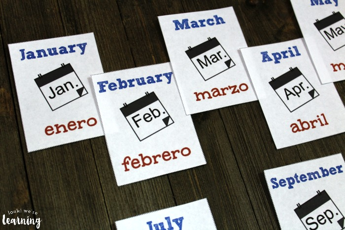 Spanish Months of the Year Printable Flashcards for Kids