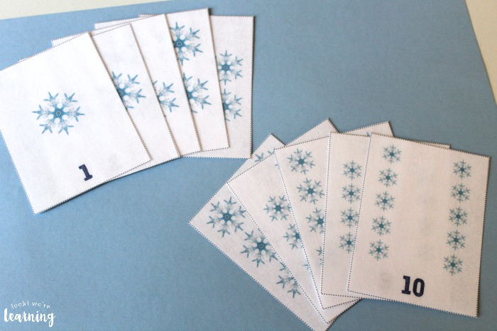 Printable Snowflake Counting Flashcards