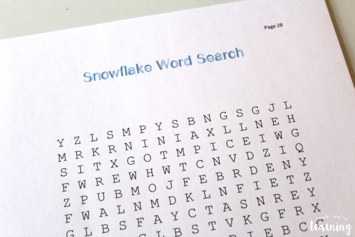 Printable Snowflake Unit Study Word Search Activity