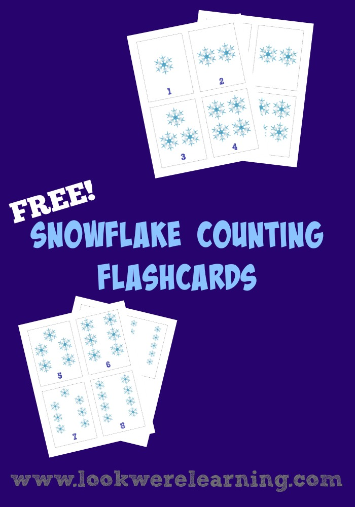 Grab these free printable snowflake counting flashcards for a fun winter math activity!