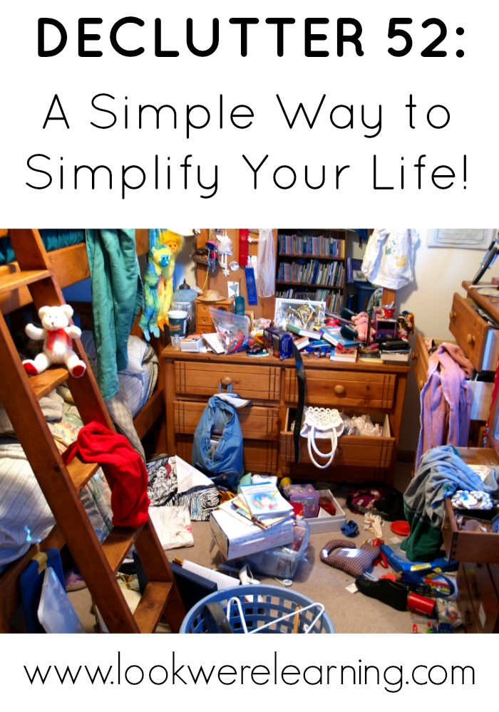 Declutter 52 - A super simple declutter plan. Perfect for busy moms!