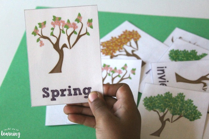 English and Spanish Printable Season Flashcards for Kids