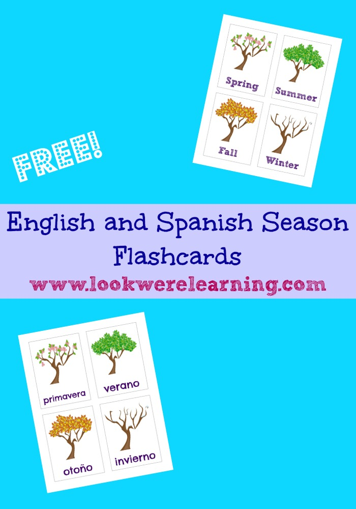 These free English and Spanish season flashcards are great for new Spanish language learners, preschoolers, and afterschoolers!