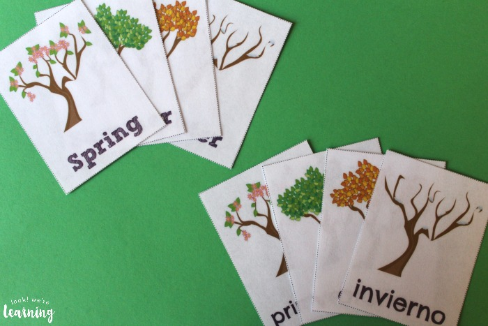 Printable English and Spanish Season Flashcards