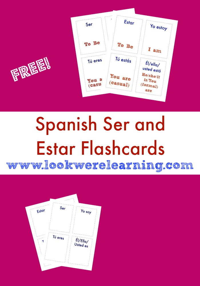 image relating to Ser Vs. Estar Worksheet Printable named Cost-free Printable Flashcards: Ser and Estar Flashcards
