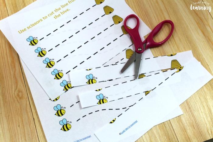 Bee Printable Scissor Skills Practice Sheets