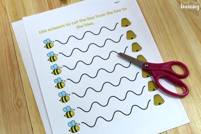 Bee Scissor Skills Practice Printables