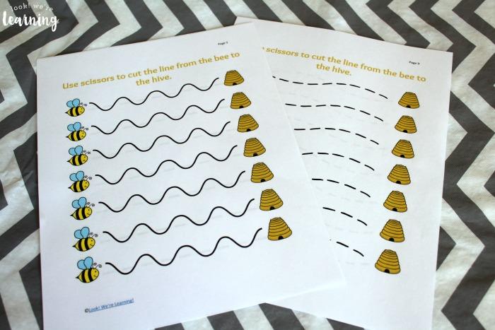 Free Busy Bee Scissor Skills Worksheets – Bee Worksheets