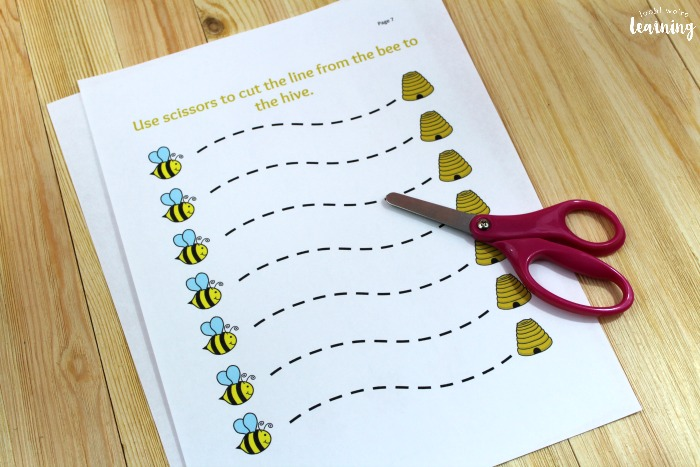 Bee Themed Scissor Skills Practice