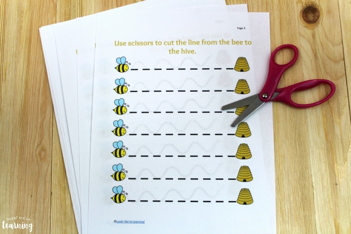 Bee Themed Scissor Skills Printables