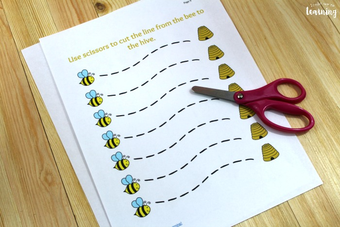 Busy Bee Scissor Skills Printables for Kids