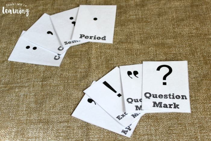 Flashcards for learning punctuation marks