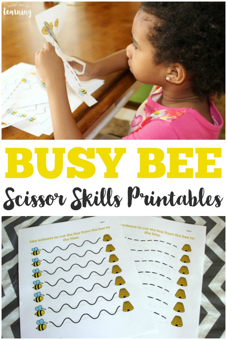 These cute busy bee scissor skills worksheets are fun spring-themed scissor practice for preschoolers!