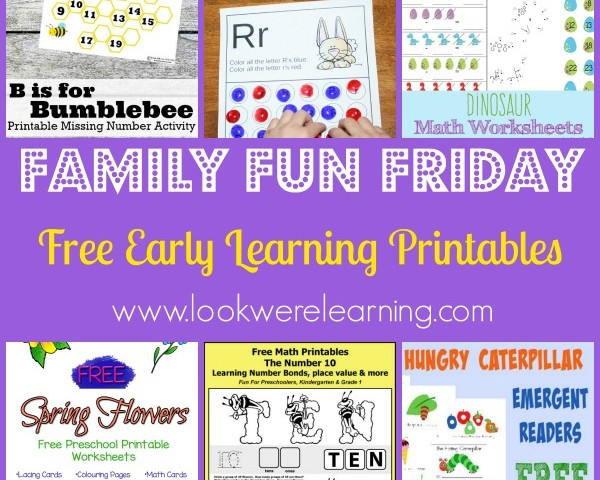 Free Early Learning Printables with Family Fun Friday!
