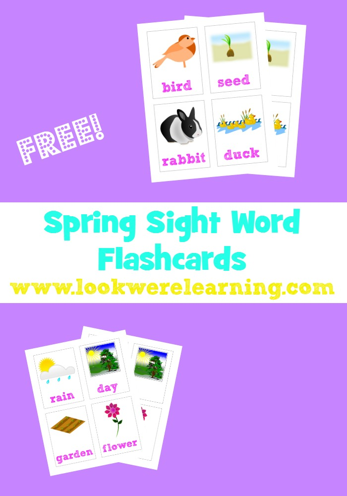 These spring sight words flashcards are a perfect way to teach reading during spring months!