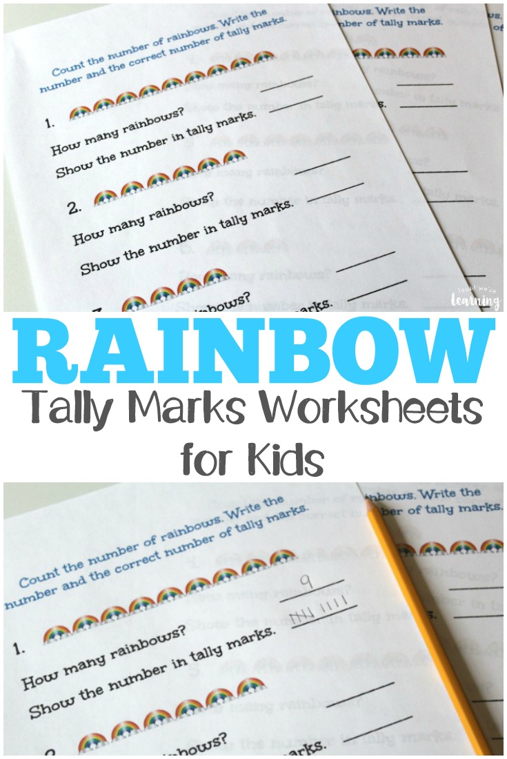 These rainbow tally marks worksheets are so fun for spring math learning!