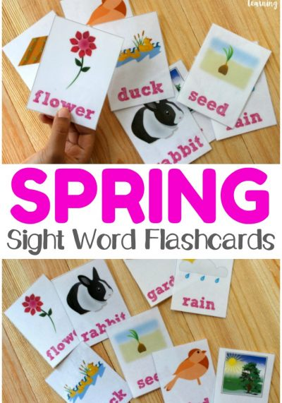 Work on early literacy skills with this fun set of printable spring sight word flashcards! Perfect for spring reading!