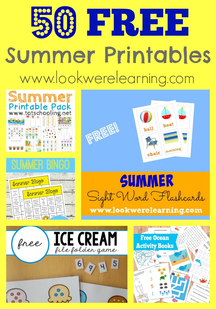 50 Free Summer Printables for Kids - Look! We're Learning!